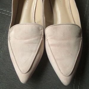 Blush pointed toe loafers